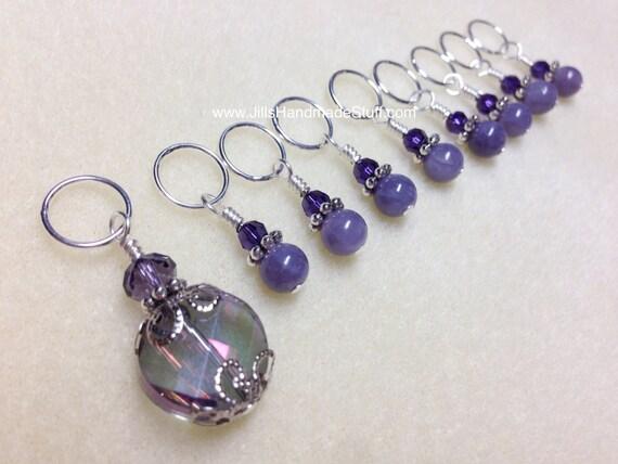 Beaded Knit Stitch Marker Pattern : Beaded Stitch Markers SNAG FREE Purple by JillsHandmadeStuff