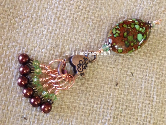 Knitting Stitch Markers Brown & Green Beaded Stitch Marker