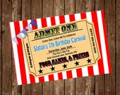 CARNIVAL PARTY Invitation Card, free customization, printable Hi-Res Design