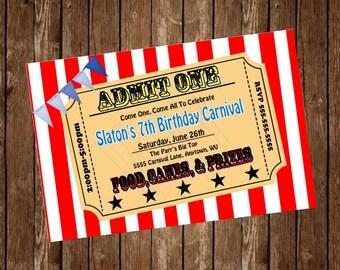 CARNIVAL PARTY Invitation Card, free customization, printable Hi-Res Design