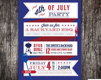4th of July party backyard BBQ summer party Invitation  Printed or DIY