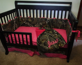 Custom 4 piece Mossy Oak bedding hunter camo camouflage crib bedding Pink (most colors available)
