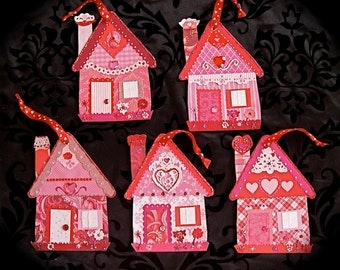 Love Shacks--Paper House Ornaments for Valentines