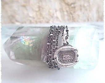 """YOU Are Always on My Mind - Handmade WAX SEAL Necklace, Victorian Wax Seal Jewelry - Jewellery -  It reads """"Tho Absent Ever Dear""""."""