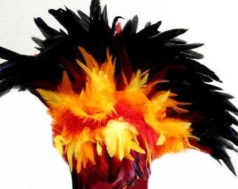 FEATHER Mohawk Fire Phoenix Headdress Headpiece o/s ready to Ship