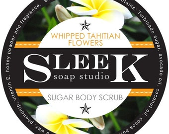 Whipped Tahitian Flowers Sugar Scrub, Body Scrub, Natural, Skincare, Exfoliation,Tahitian Monoi,Floral,Cocoa Butter,Spa,Tropical, Exotic