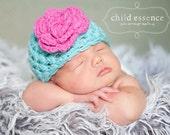 Newborn Girl Hat, Baby Girl Crochet Hat, Newborn Photo Prop, Aqua Hot Pink Girls Hat, Newborn Girl Beanie, Infant Girl Hat
