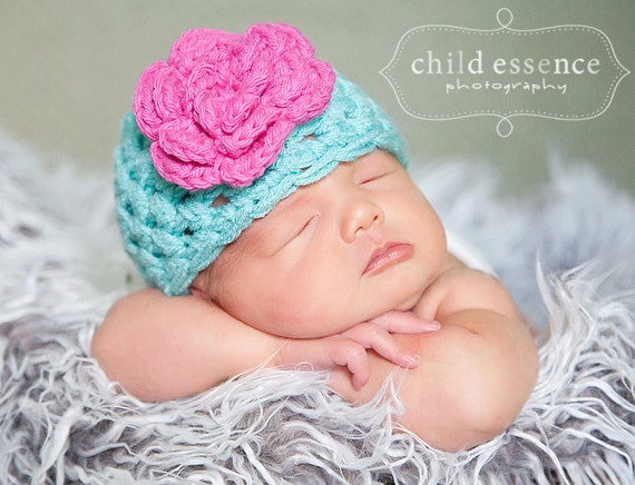 Newborn Girl Hat, Baby Girl Crochet Hat, Newborn Photo Prop, Aqua Hot Pink Girls Hat, Newborn Girl Beanie, Infant Girl Hat