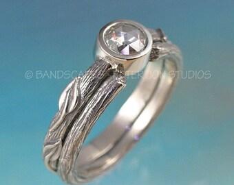 PETITE ROSE Wedding Ring set. Moissanite Rose Cut in 14k gold. Made To Order