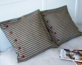 Decorative linen pillow -Jazzy- throw pillow,cushion cover, linen home decor, striped linen,