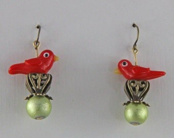 Bird on a Filigree Earrings Brass and Glass