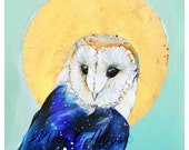 Barn Owl with Gold Halo 8'' x 8'' Art Print By Mandy Higgs Titled Hidden Constellations