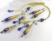 Sea Glass Statement Necklace and Earring Set in Royal Blue Turquoise and Gold with large teardrops and Swarovski Crystals
