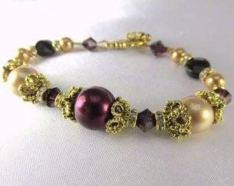 Bridal or Bridemaid Bracelet in Blackberry Burgundy and Light Gold Swarovski Pearls, Crystals