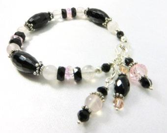Pink Rose Quartz and Black Onyx Semiprecious Stone Bracelet on Sterling Silver