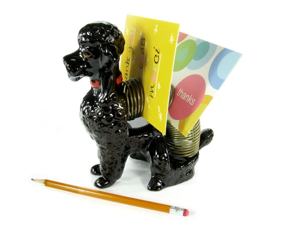 Vintage Poodle Letter Holder / Mid Century Office Decor / Made in Japan / Malls Company
