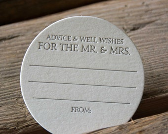50 Advice and Well Wishes for the MR. and MRS. Coasters, modern design (Letterpress printed, 3.5 inches circle), perfect for weddings