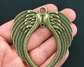 Large Wings Charms Antique Bronze Tone - BC959