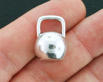 Kettlebell Charms Antique Silver Tone 3D Larger Size - SC4170