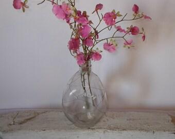 Vintage liquor bottle, pinch bottle, liquor decanter, collectible glass, flower vase, wedding decor, cottage decor