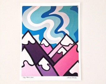 Landscape Art Print-Colorful Mountains and Sky-Rockies-British Columbia-Interior Decor-Home Decor-Office-Perfect Gift