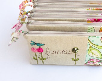 Wedding Party Gifts, Personalized Bridesmaid Clutches, Gift Set of 4, Custom Made for your Wedding Party, MADE TO ORDER MamaBleuDesigns