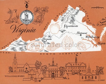 Virginia Map Vintage - High Res DIGITAL IMAGE 1960s Picture Map - Fun Retro Color - image transfer for cards totes pillows souvenir prints