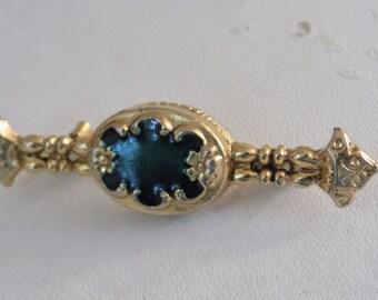 Vintage brooch, Victorian style neoclassical emerald green enamel ornate brooch, retro jewelry