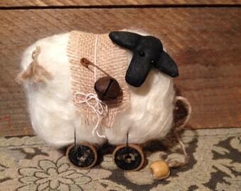 Burlap Primitive Wool Sheep Vintage Antique Wooden Spools  JKB
