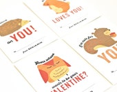 Personalized Kid's Valentine Cards, Children's Classroom Valentines // WOODLAND CRITTERS