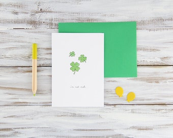 Irish Kiss Hand Illustrated Shamrock Love Card