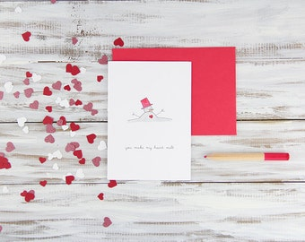 Heart Melt Hand Illustrated Valentine's Day Card