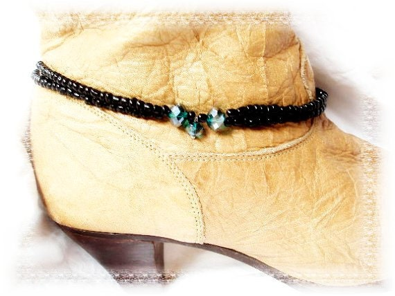 Gypsy Black Boot Chains Blue Green Aqua Crystal Boot Jewelry Motorcycle Boots Biker