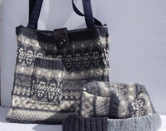 Blue and Gray Tote and Hat Set: made from a Felted Wool Sweater, Upcycled