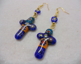 Cross Earrings, Millefiori Cross Earrings, Colorful Cross Earrings, Dangle Cross Earrings