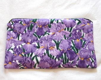 Purple Irises Fabric  Zipper Pouch / Pencil Case / Make Up Bag / Gadget Pouch