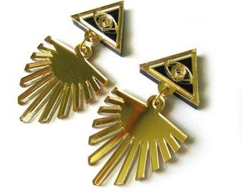 SEEING EYE Statement Earrings - Egyptian Earrings, Evil Eye Earrings, Gold Earrings, Eye Earrings, Palm Earrings, Triangle Earrings