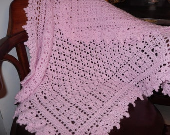 Baby Blanket Pink Crocheted Lacey Christening Blanket Afghan