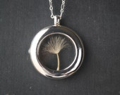 Silver Round Dandelion Locket Shiny Finish