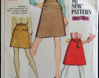 Simplicity 7779 Misses A-Line Skirt in 2 Lengths Vintage 60s Sewing Pattern Waist 27