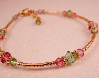 Ankle Bracelet Swarovski Crystal Anklet Crystal Ankle Bracelet Pink Jewelry Swarovski Jewelry Crystal Jewelry Beaded Anklet Beaded Jewelry