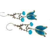 Lampwork Earrings, Flower Earrings, Glass Bead Jewelry,  Blue Dangle Earrings, Glass Bead Earrings, Lampwork Jewelry