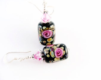 Pink Lampwork Earrings, Glass Bead Earrings, Black Dangle Earrings, Flower Earrings, Beadwork Earrings, Lampwork Jewelry, Drop Earrings