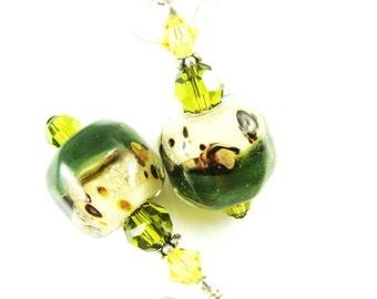 Boro Lampwork Earrings, Green Dangle Earrings, Glass Bead Earrings, Beadwork Earrings, Olive Beaded Drop Earrings, Lampwork Jewelry,