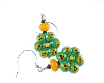 Teal and Yellow Lampwork Earrings, Glass Bead Earrings, Artisan Earrings, Glass Bead Jewelry, Casual Flower Drop Earrings, Lampwork Jewelry
