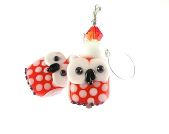 Owl Lampwork Earrings, Glass Bead Earrings, Orange Dangle Earrings, Lampwork Jewelry, White Glass Bead Jewelry, Beadwork Earrings