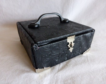 Black Leather Cigar Box Purse Handbag