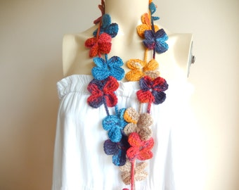 Flower Crochet  Scarf-Multicolor Lariat Scarf-Necklace Lariat Scarf-Coral,Navy,Mustard Scarf