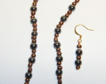 Hematite and Copper Glass Necklace and Earrings