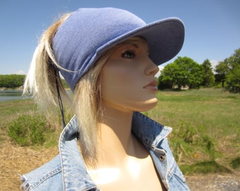 Visor, Summer Headband Baseball Cap Hat with Brim Tube Hat lightweight Cotton Spring Blue Drawstring Open Ponytail Holder Beanie A1317
